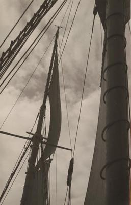 Photograph: RANGI (1905) view of masts from deck showing sails and rigging