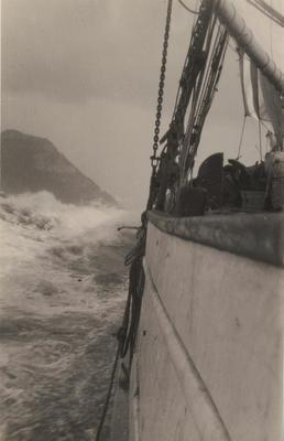 Photograph: RANGI (1905) view from deck showing rigging, Auckland to Tauranga trip by Cliff Hawkins